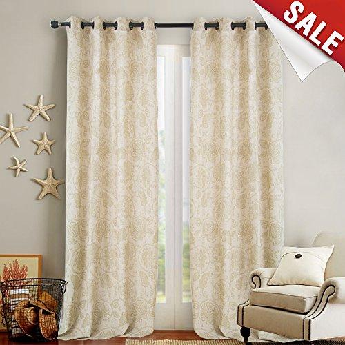 Paisley Scroll Printed Linen Curtains, Grommet Top - Medallion Design Burlap Vintage Bedroom Curtain Panels (Sage, 50-inch x 95-inch, Set of Two) (Bedroom Vintage Bedroom Set)
