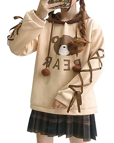 CRB Fashion Womens Teens Animal Anime Cosplay Cartoon Sweatshirt Shirt Hoodie Hoody Top Jumper Sweater (Bear)