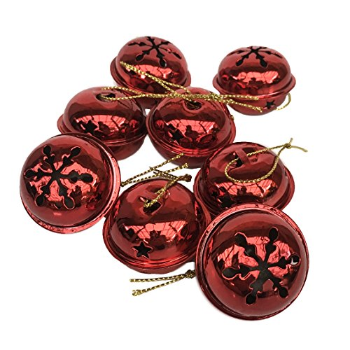 Happy Holidays Christmas Jingle Bell Hanging Ornaments, Large 1.5 inch, Set of 24 Bells (Red)