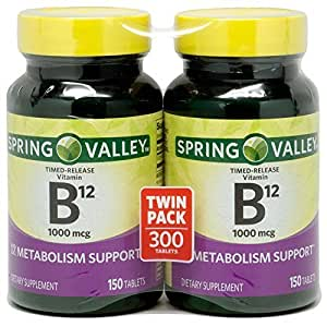 Spring Valley - Vitamin B-12 1000 mcg, Timed Release, 300 Tablets, Twin Pack