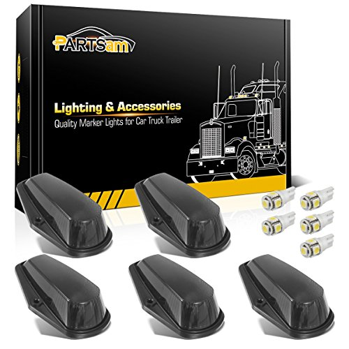 Partsam 5X Cab Marker Light Roof Running Light Black Cover Lens + 5050 White T10 194 168 LEDs Light Bulbs Compatible with Ford Ford F150 F250 F350 1973-1997 F Series Super Duty Pickup Trucks (1996 Ford F250 Roof Lights)