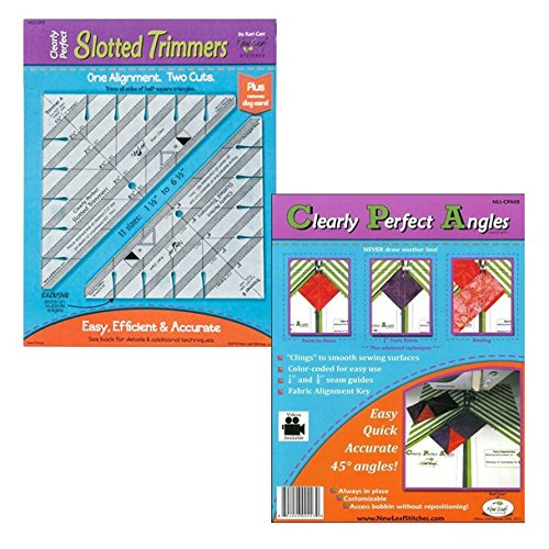New Leaf Stitches NLSCPST Clearly Perfect Slotted Trimmers Bundled with NLSCPA08 Clearly Perfect Angle Sewing Templates Kari Carr