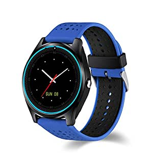 Efanr V9 Bluetooth Smart Watch with Camera Sim Card Slot, Wrist Watch Smartwatch Pedometer Fitness Activity Tracker Monitor for Android Samsung IOS iPhone X 8 Plus Men Women (Blue)