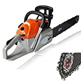 62cc 20'' Saw Blade Petrol Chainsaw, 4.2HP 2 Stroke Gas Powered with Smart Start, Air Filter System, Automatic Carburetor, Tool Kit--US STOCK