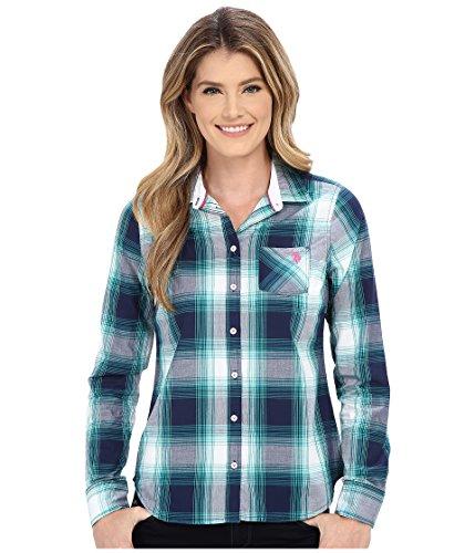 (U.S. POLO ASSN. Women's Poplin Woven Sport Plaid Shirt Tribal Navy Button-up Shirt)