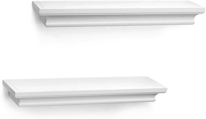 BIROLA White Floating Shelves,Crown Molding Wall Mounted Mantle Shelf of Molding Ledge Shelves Set of 2, 17 Inch(White)