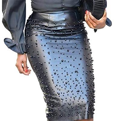 SHOWNO Women Split Beads Irregular Hem PU Leather Stretchy Bodycon Club Cocktail Midi Skirts