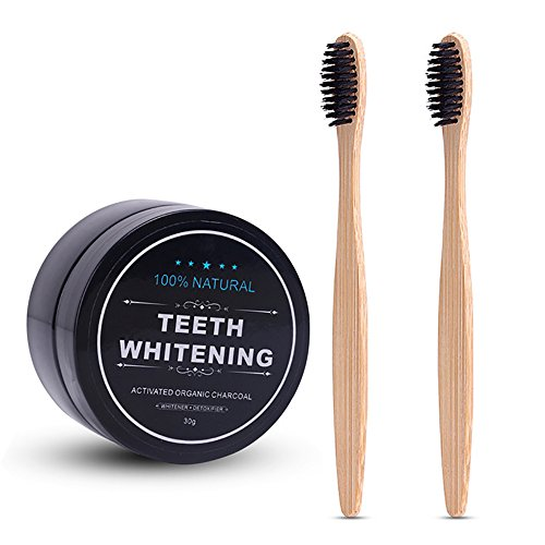 AZDENT Activated Teeth Whitening Charcoal Powder Toothpaste Natural Teeth Whitener with 2 Pcs Bamboo Toothbrush for…