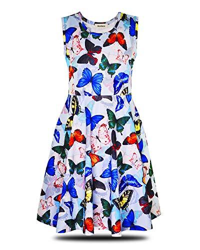 ModaIOO Gilrs Butterfly Rainbow Rabbit Sleeveless Dress(8013,Butterfly,130)]()