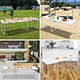 GARTIO 6FT Aluminum Folding Table, Tri-Fold, Height Adjustable Portable Lightweight Camping Beach Dining Utility Desk, with Handles, for Indoor Outdoor Garden Picnic Party. White