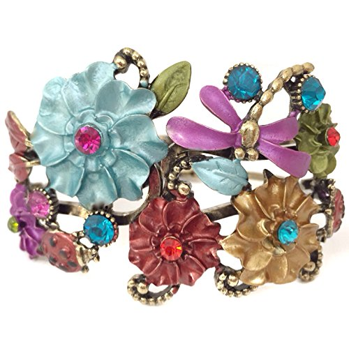 (Gypsy Jewels Multi Color Enamel Flower Dragonfly Butterfly Rhinestone Gold Tone Crystal Hinged Bangle Bracelet)