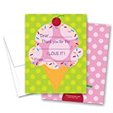 20 Cherry Pink Ice Cream Gift Kids Fill-in Birthday Thank You Cards