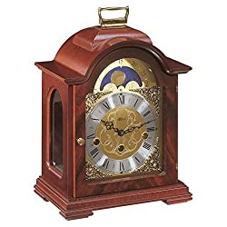 Qwirly Store: Debden Mechanical Table Clock #22864070340 by Hermle - Antique Style Mahogany Wood Chiming Mantel or Desk Clock