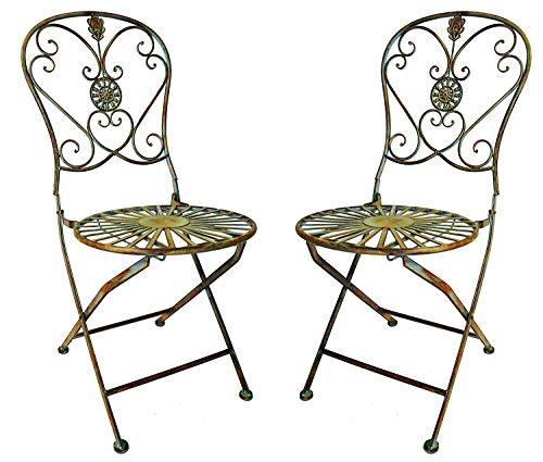 PierSurplus Folding Metal Bistro Chair w Scrolling Heart Peacock Tail Motif, Set of Two Product SKU PF223586