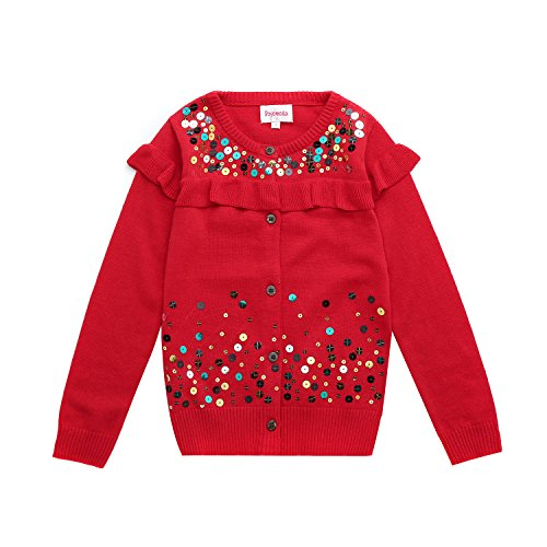 DOYOMODA Girls Crew Neck Button Down Red Cardigan Sweaters With Flouncing and Sequins (4) (Ruffle Neck Cardigan)