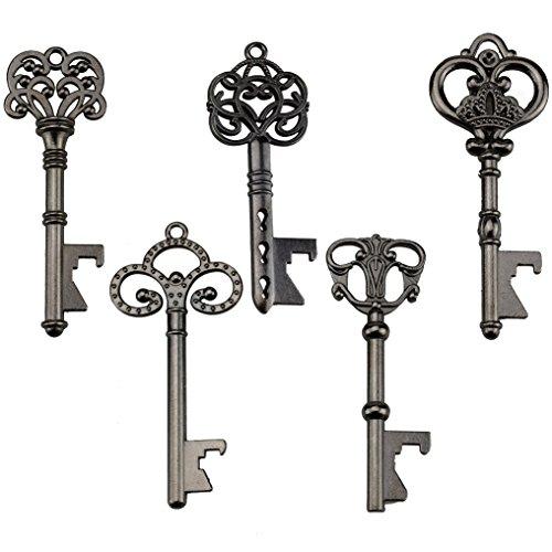 Key Bottle Openers - Assorted Vintage Skeleton Keys, Wedding Party Favors (Pack of 25, Black)