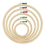 AsianHobbyCrafts Wooden Embroidery Hoop Ring Frame: Set of 5 pcs: for Cross Stitch Craft, Sewing Tool, Embroidery.