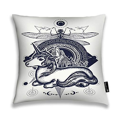 Randell Throw Pillow Covers Magic Unicorn Dragonfly Mountains The Circle Tattoo Celtic Style Great Outdoors Symbol of Dre Home Decorative Throw Pillowcases Couch Cases -