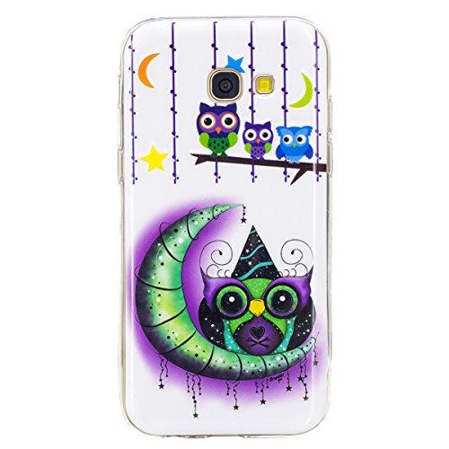 Funda Samsung A5 2017, CaseLover Carcasa Noctilucent Luminous TPU Silicona para Samsung Galaxy A5 2017 A520 (5.2 pulgadas) Ultra Delgado Suave Fluorescente Efecto Verde Brillo Nocturno En la Oscuridad Pájaro de dibujos animados