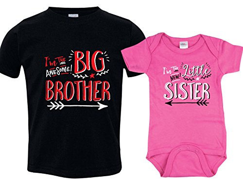 Tshirt Set for Brother and Sister, Hipster Design (Big Brother,Black/Little Sister,Pink)Includes Size 5/6 & 0-3 mo (Brother And Sister Matching Christmas Outfits Uk)