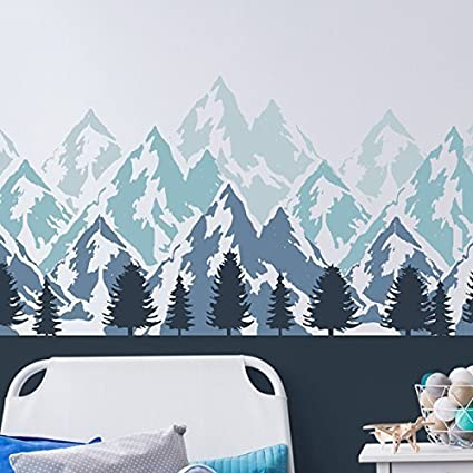 Mountains Mural Wall Painting Stencil Nursery Bedroom Home Wall Decorating Craft Stencil Paint Walls Fabrics Furniture 190 Mylar Reusable
