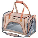 "Ollieroo Pets Travel Carrier Airline Cat Carrier Soft-Sided with Pet Mats for Small Dogs and Cats (Brown-(18"" L X 11"" W x 11""H))"