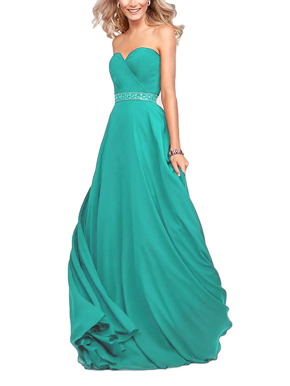 39d6ad66e893 Bellis Women's Sweetheart A Line Beaded Chiffon Bridesmaid Dresses Long  Prom Dress Evening Gowns B067 Turquoise
