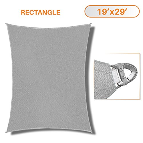 Sunshades Depot A Ring Design Steel Cable Wire Reinforcement Sun Shade Sails 19' x 29 ' Rectangle Light Gray Heavy Duty Permeable 260 GSM