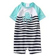 Gymboree Baby Boys 1-Piece Octopus Swimsuit, Navy Stripe, 0-3 MO