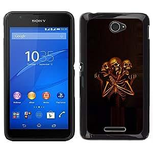 "For Sony Xperia E4 Case , Cráneo Esqueleto Muerte Grim Orar"" - Diseño Patrón Teléfono Caso Cubierta Case Bumper Duro Protección Case Cover Funda"