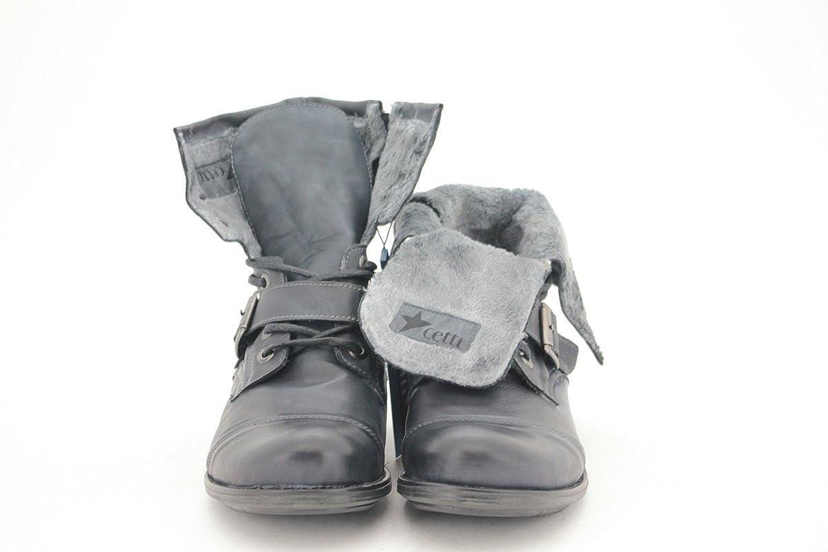 Cetti , Herren Biker Boots, schwarz anthrazit Größe