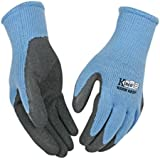 KINCO 1790W-M Women's Warm Grip Thermal Latex Coated Gloves, Medium, Blue/Gray
