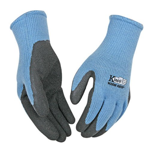 Warm Grip Kinco (KINCO 1790W-M Women's Warm Grip Thermal Latex Coated Gloves, Medium, Blue/Gray)