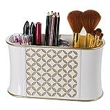 Creative Small Bathroom Storage Ideas Diamond Lattice Makeup Brush Holder, Sink Cabinet Vanity Organizers- Decorative Bathroom Countertop Makeup Organizer, Hair Accessories Storage- Gift Packaged