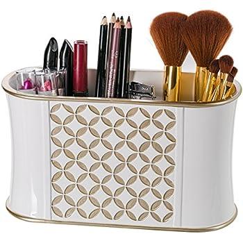 Makeup brush holder diamond lattice bathroom for Bathroom accessories organizer