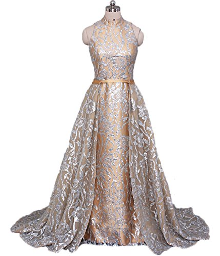 High Neck Mermaid Sequin Two Pieces Prom Dress Elegant Arabic Evening Gowns with Detachable Skirt Gold US16