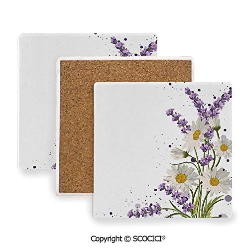 Ceramic Coasters with Cork Base, Prevent Furniture from Dirty and Scratched, Suitable for Kinds of Mugs and Cups,Lavender,Vivid Bouquet with Daisies Color Slashes ()