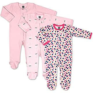 The Peanutshell Dots & Ballet Slippers 3 Pack Footed Baby Sleeper Pajamas for Baby Girls (Newborn) Pink