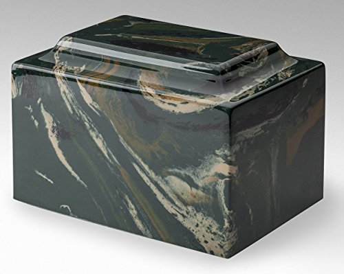 Trinityurns Classic Cultured Marble Cremation Urn for Human Ashes - Adult/Large Size, Marble Urn, Adult Affordable Urn for Human Ashes Suitable for Ground Burial or Home Memorial (Camo)