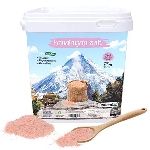 NortemBio Rosa Himalaya-Salz 6,7 Kg. Extra Feinkorn (0,5-1 mm). 100% Natürlich. Unraffiniert. Ohne Konservierungsstoffe. Von Hand extrahiert. Aus Punjab Pakistan. Premium-Qualität.