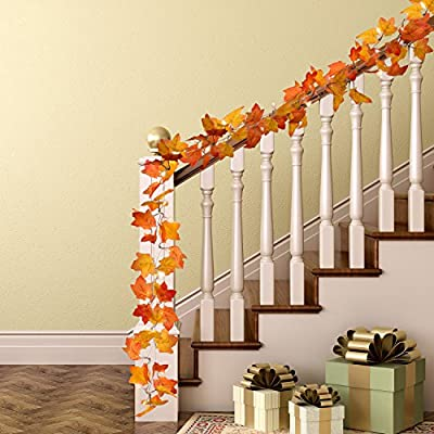 Sumind 8.2 Feet Maple-Leaves LED Garland Light Fall Decor Light with 20 Warm White Lights for Thanksgiving Christmas Decoration, Orange
