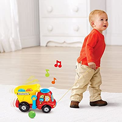 VTech Lights and Sounds Drop & Go Dump Truck, Turn and Learn Driver, Musical Rhymes Book Baby Educational Toys with Baby Wipes and Cleaning Cloth, BUNDLE