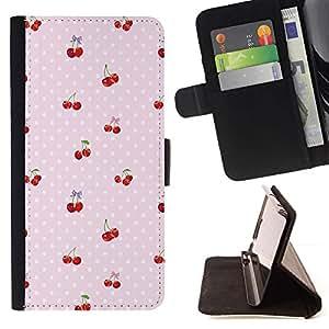 Momo Phone Case / Flip Funda de Cuero Case Cover - Motif Dot baies roses - LG Nexus 5 D820 D821