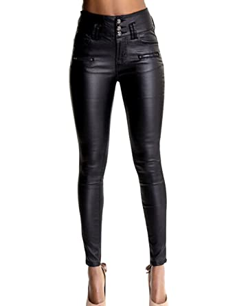5b4990c990fc8 Crazy Women's High Waist Skinny Fit Faux Leather Biker Pants Slim  Trousers-34
