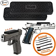 43 lbs Gun Magnet Mount 2 Pack – Rubber Coated Magnetic Gun Holder for Cars, Bedside, Gun Safe – Hidden Concealed Magnetic Gun Mount – Rifle, Shotgun, Firearm, Handgun, Pistol and Glock Accessories