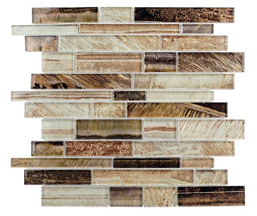 MTO0207 Contemporary Linear Brown Glossy Foil Glass Mosaic Tile