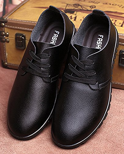 Diffyou Mens Dress Scarpe Stringate Basse Stringate Piatte In Pelle Nera