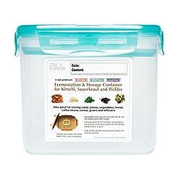 Crazy Korean Cooking Premium Kimchi, Sauerkraut Fermentation and Storage Container with Inner Vacuum Lid, Translucent Coral Green, 0.9 gallon (3.4 L)