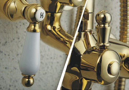 GOWE Contemporary Bathroom 8-in Shower Set Golden Polish Waterfall Spout Faucet Wall Mounted Tap 1