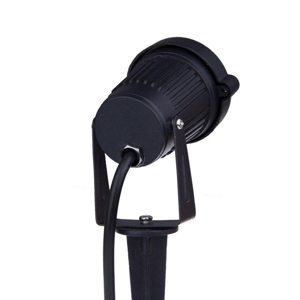 set da 4 Mini Faretti a LED da Giardino Esterno con Picchetti IP65 3W 220V Bianco Caldo